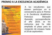 PREMIO A LA EXCELENCIA ACADÉMICA FRANCISCO MORAZÁN 2019