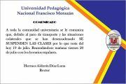 SUSPENSIÓN DE CLASES 19 JULIO 2018