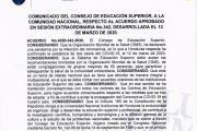 COMUNICADO CONSEJO DE EDUCACIÓN SUPERIOR